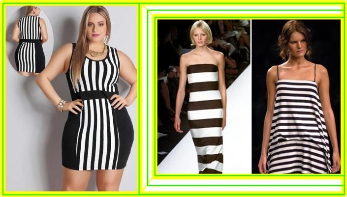 Plus-size-usa-vestido-com-listras-verticais-e-horizontais-em-preto-e-branco