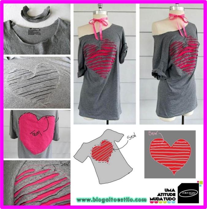 Camisetas com recortes em Coração