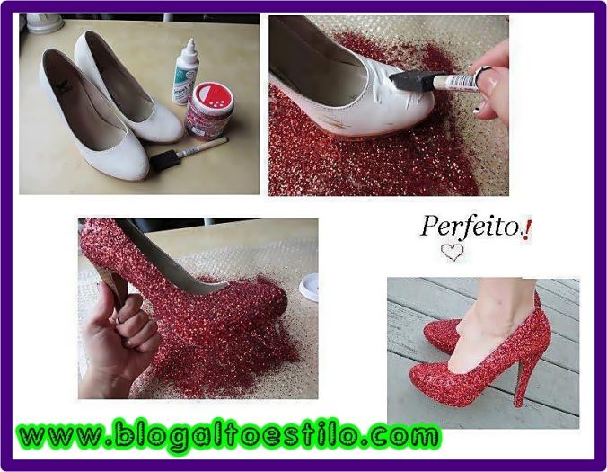 calçados customizados com glitter