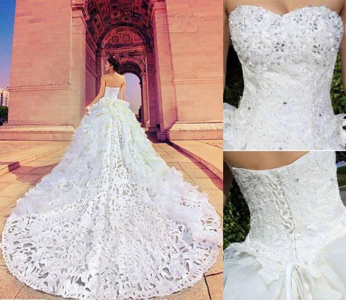 O Objetivo principal da calda nos Vestidos de casamente é diferenciar a noivadas madrinhas e das Damas de honra de acordo com seu tamanho.