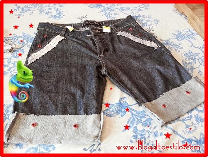 Transformando calça em shorts